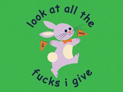 Wheeeeeee yay parade go away typography illustration comic sans rabbit bunny