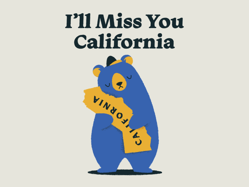 I'll Miss You California hat moving typography illustration miss you bear san francisco california