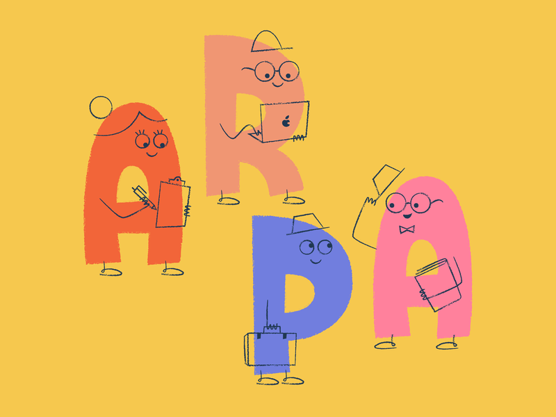 Characters as characters alphabet productivity teamwork team office character art character illustration lettering letters