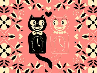 <3 <3 floral bowtie romance love pattern flowers illustration 50s retro kit kat clock clock cat