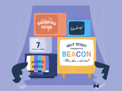 (Re)Introducing Beacon! chat typography illustration character vintage television tv mid-century retro help scout