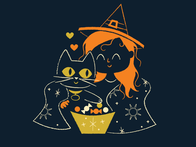 Dani and Binx character art character texture retro mid-century illustration cat binx hocus pocus halloween