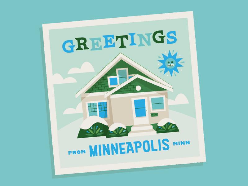 November Update typography illustration november winter snow minnesota house postcard greetings minneapolis