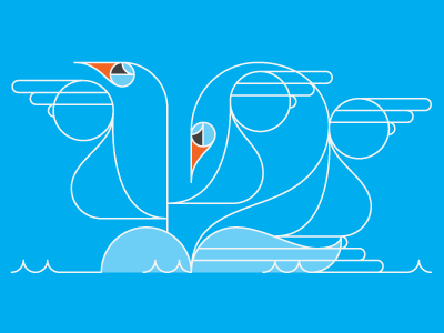 The number 12, kind of secretly written in swans. 12 illustration blue lettering numbers line geometric animals water swan
