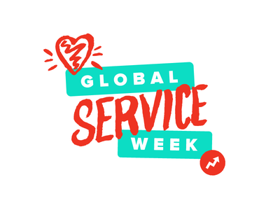 Global Service Week custom type brand branding buzzfeed lettering hand sumi