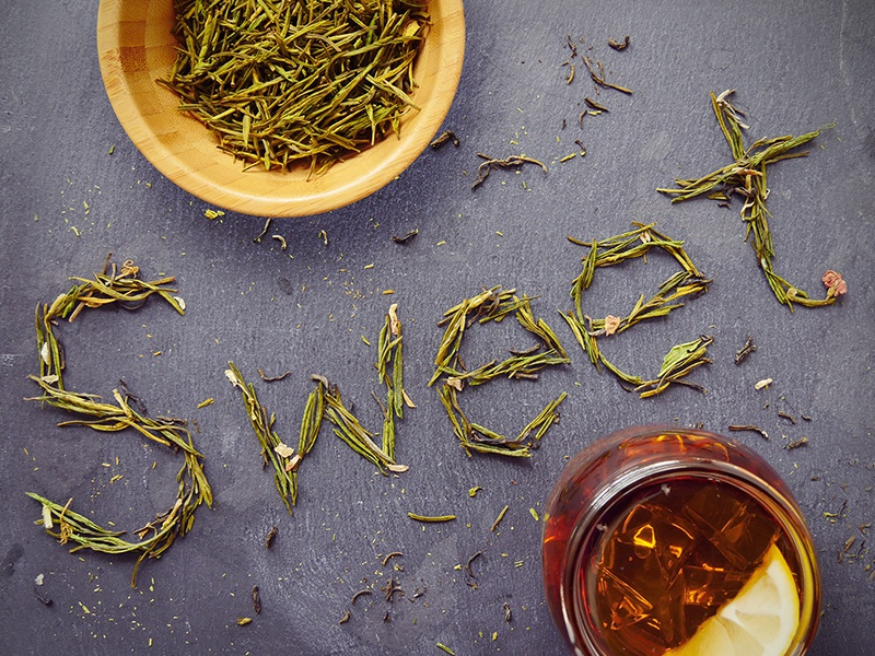 Sweet  typography type leaves lemon tea sweet