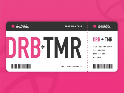 Hello! welcome invite card on board travel airlines dribbble debut trip airplane ticket boarding pass