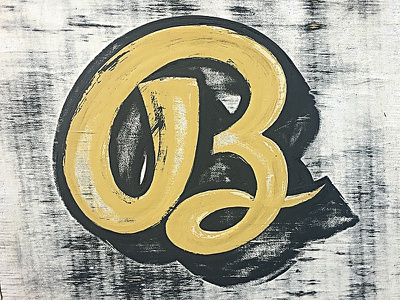 Hand Painted B hand lettering hand drawn vintage typography sign painting letter handmade handlettering paint texture script