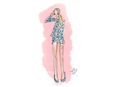 // pretty in pink @camilleanna_ paint pastel figure heels pink blonde pretty fashion drawing fashion water color ink drawing