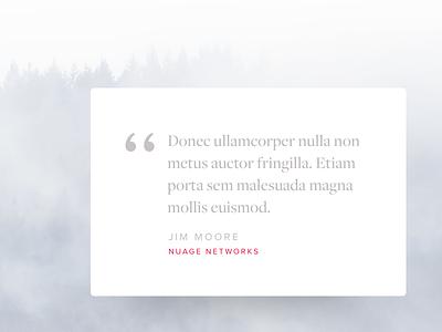 Testimonial Design minimalist whimsical light fog trees css drop shadow design type typography quote testimonial