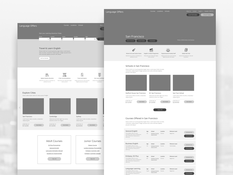 Language Offers Wireframes travel information filter search buttons wireframes wireframing strategy ui ux process wireframe