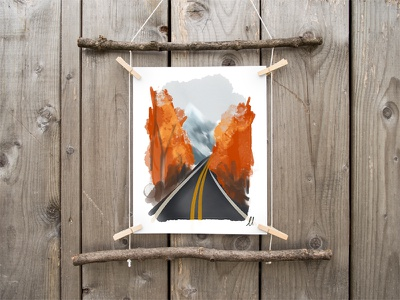 Road to Autumn Print ottawa fall autumn graphic design design digital artist digital art painting download print shop