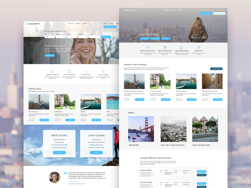 Language Offers Design blue wordpress website design web design travel pastel design