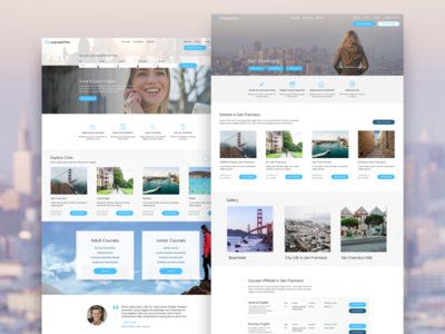 Language Offers Design blue wordpress website design web design travel pastel design