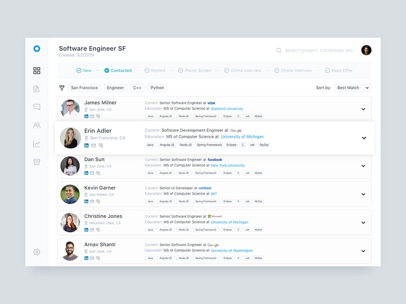 Talent Sourcing Tool - Candidate Page by Pengfei Wang on Dribbble