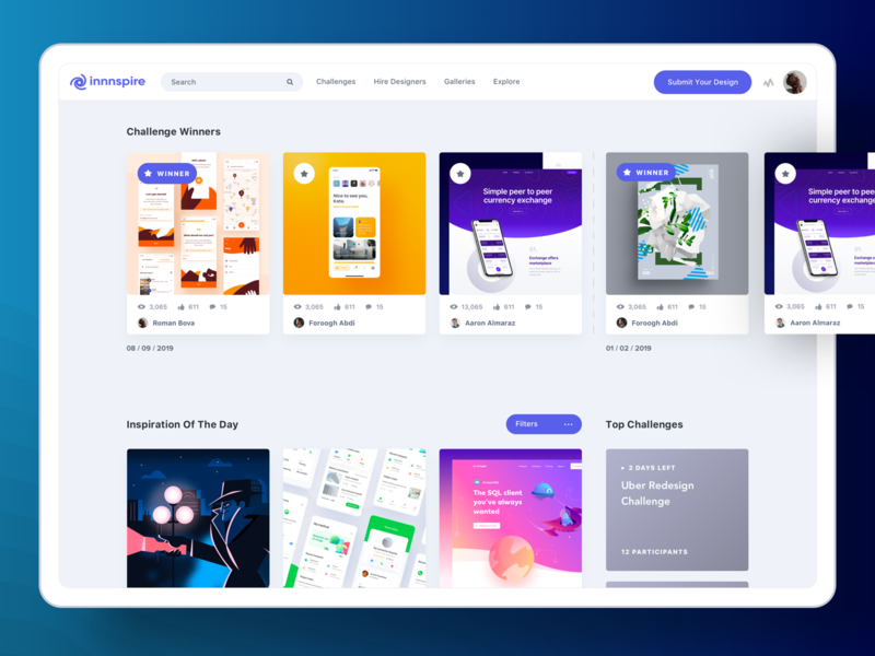 Innnspire - Home Page color clean home page web experience simple ux design ui