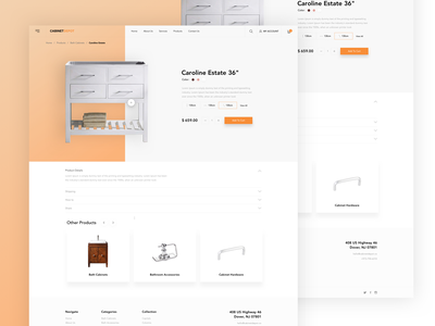 Cabinet Depot - Product Page product experience simple page kopanlija clean website sketch design ux ui