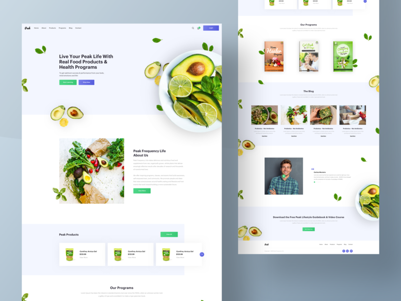 Peak Frequency Life - Home Page web experience health life avocado food page home kopanlija clean sketch design ux ui