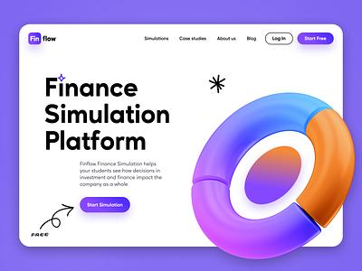 Finflow - Finance Simulation Platform playful finance arrows handwriting chart pie chart illustration 3d website landing page landing header