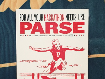 Retro Parse Poster #2 analog lab red knockout hurdle retro parse