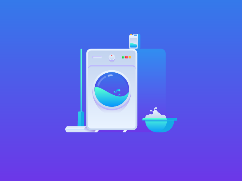 Clean a day illustration flat icon mop detergent laundry machine washing