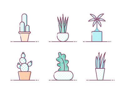 Plant illustration plants potted icon line flat illustration plant