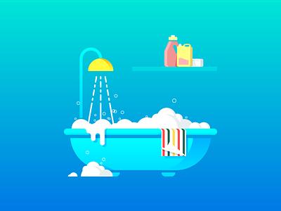 Bathing color illustration flat foam water towel bathtub bathing