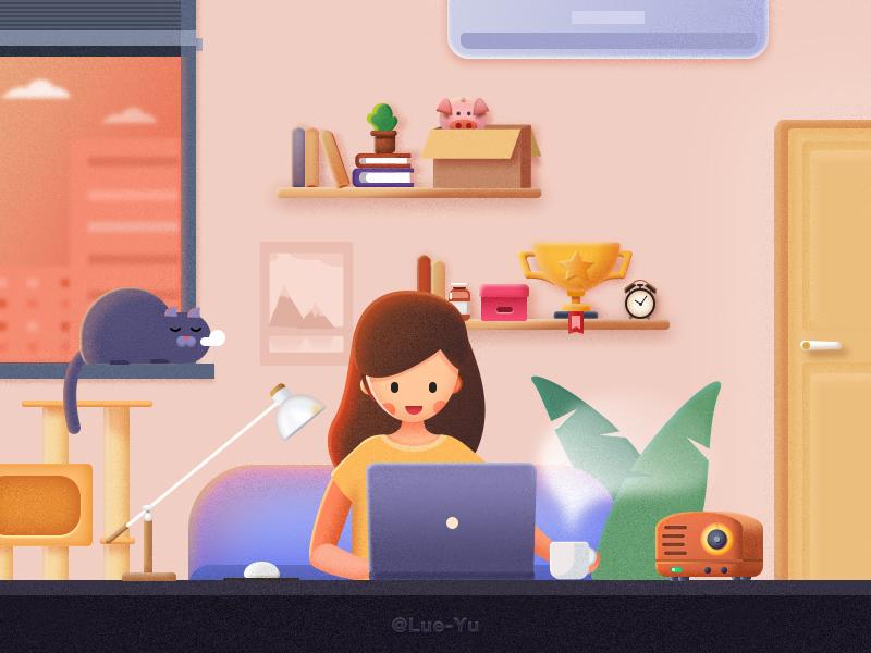 bedroom work bedroom light books orange room cup radio door cat girl illustration work