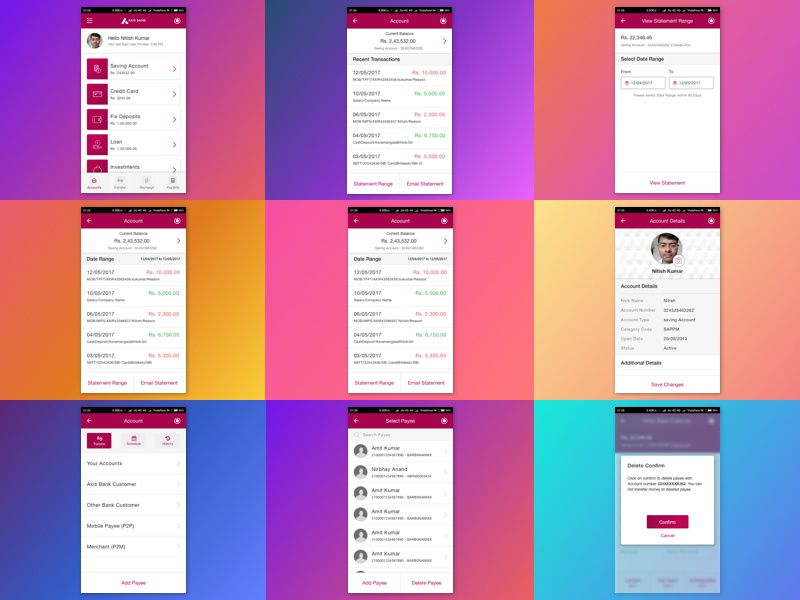 Axis Bank - App Mocks by Nitish Kumar, UXer on Dribbble