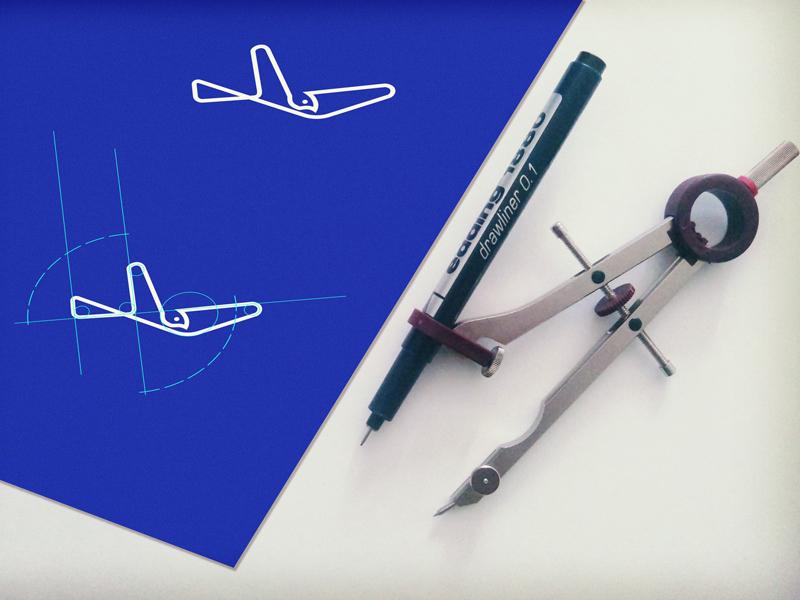 Geometry Bird swallow pigeon hawk dove logo designer blue line logo vector media fly bird