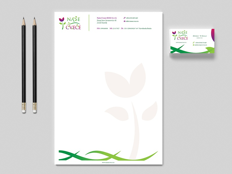 Our Flowers - Stationery and Business card flower leaf colorful flowers business card stationery