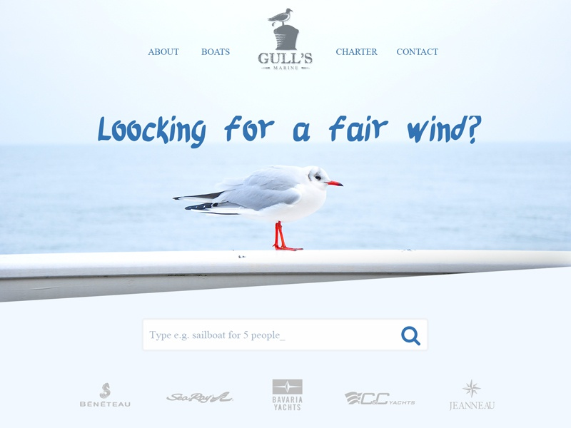 Find Sailboat For Rent - Concept boating sailing search clean ui web design seagull sea sailboat