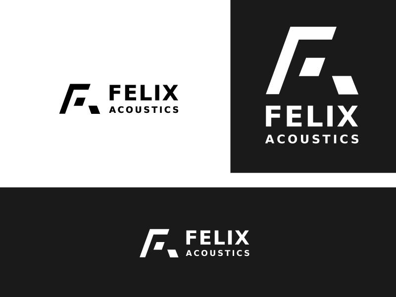 Felix Acoustics  monogram freelance logo designer white black bw negative space typogrphy letter logo audio