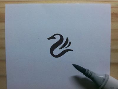 Black Swan ink pen copic logo designer drawing free hand brush black bird swan logo design logo