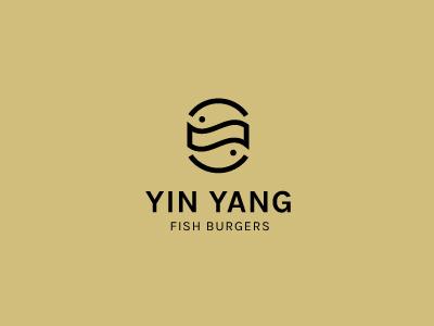 Yin Yang Fish Burgers one color logo designer negative space health balance food burger fish yin yang