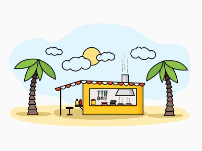 Beach Burgers palms grill fast food icons illustration clip art