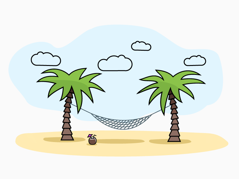 Net Hammock illustration sky summer enjoy coctail coconut line palms beach