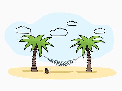 Net Hammock illustration sky summer enjoy coctail coconut line palms beach