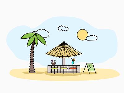 Beach Bar illustration line art vacation sun coconut palm coctail bar beach