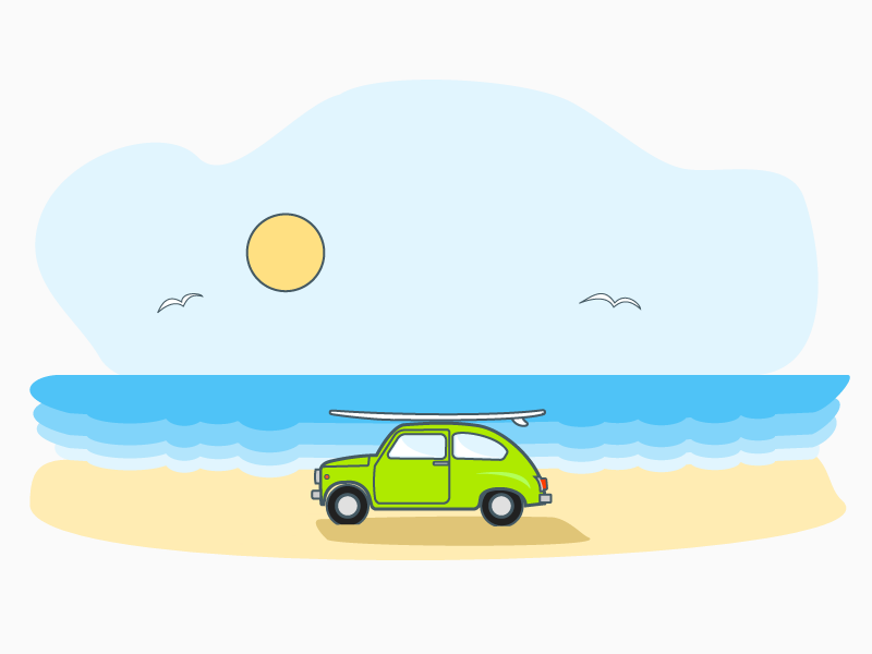 Zastava 750 SE  (Surfing Edition) illustration icon line art calm sea beach design material fiat 500 surfing