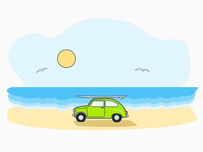 Zastava 750 SE  (Surfing Edition) illustration icon line art calm sea beach design material fiat 500 surfing