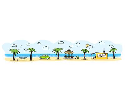 Beach Life surfing illustration line art vacation sun coconut palm coctail bar beach