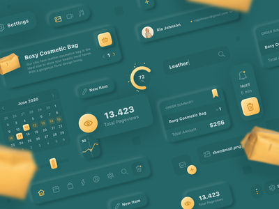 Neumorphic Shop Kit neumorphism tabs slider cart pack icons profile navigation green yellow leather buttons graph ecommerce shop calendar dashboard admin skeumorphic ui