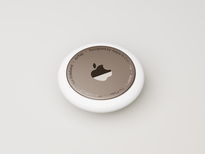 Apple AirTags design mockup product copper tile white metal keychain lost my find device render 3d concept tracking apple airtags airtag