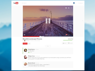 Youtube Light Redesign profile comments player google ui video light redesign youtube minimal flat gui