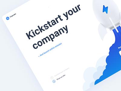 Cupcake - Startup Accelerator illustration kit 3d space features agency company kickstart cta page landing animation smoke launch blue website web ui startup rocket