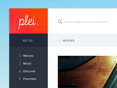 Movie & Music Service - Plei. movie app application ui web flat icons icon social video music youtube