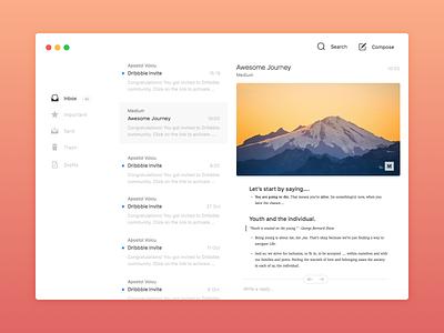 Sketch Template - Mail App app mail sketch redesign free freebie ui flat minimal clean osx