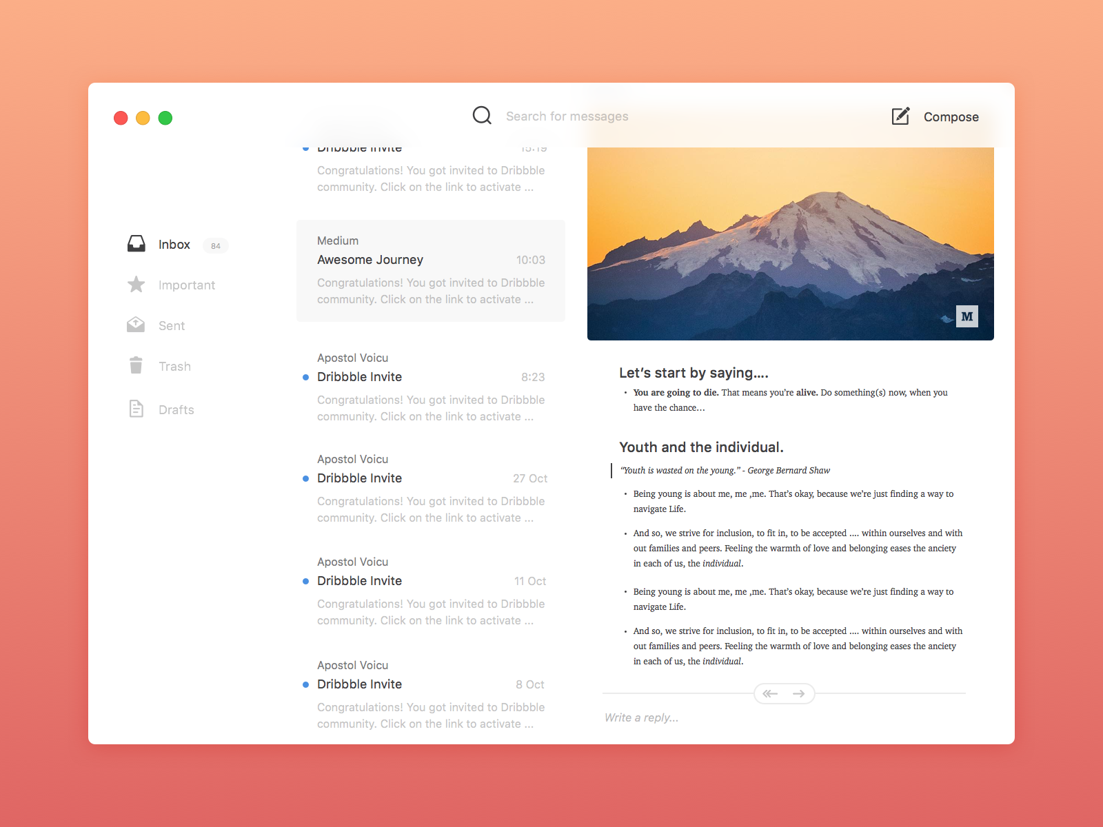 Mail app active