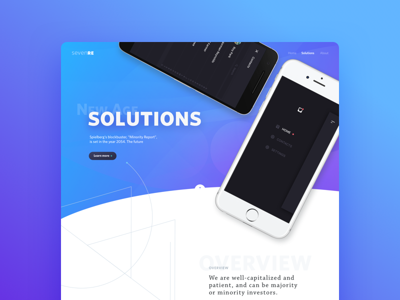 Header mockup about solutions gradient iphone mockup new ui web